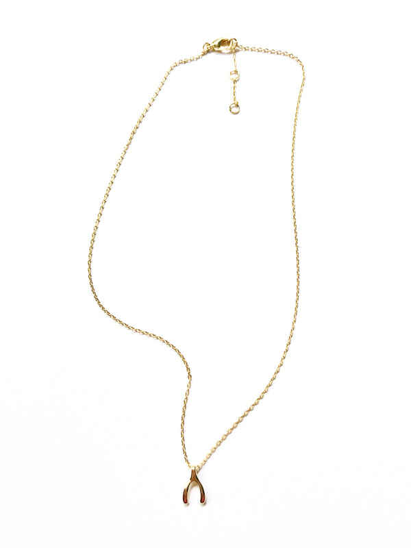 Wishbone Choker Necklace | Gold Plated Chain Charm Pendant | Light Years