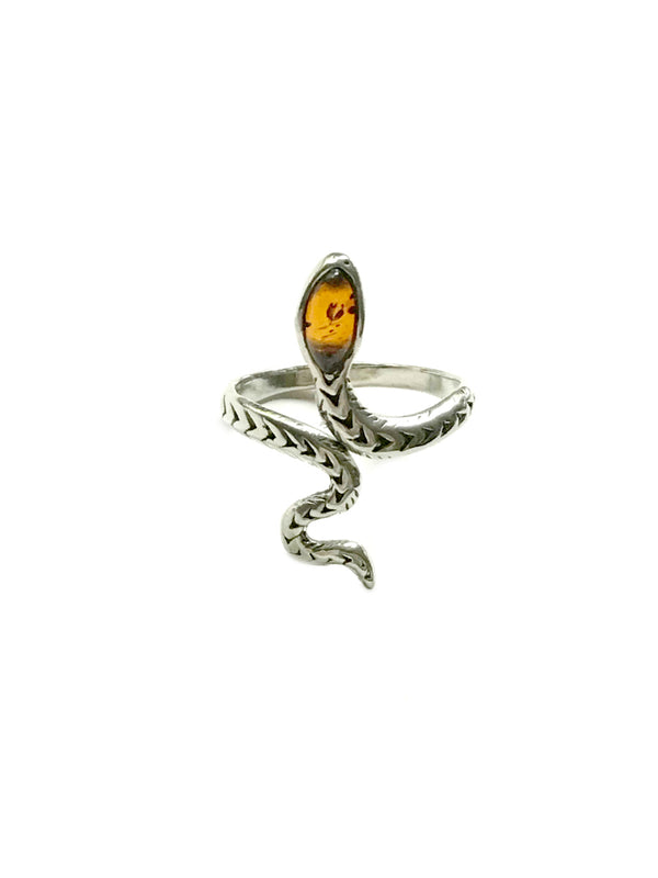 Baltic Amber Snake Ring | Sterling Silver Size 6 7 8 9 10 | Light Years