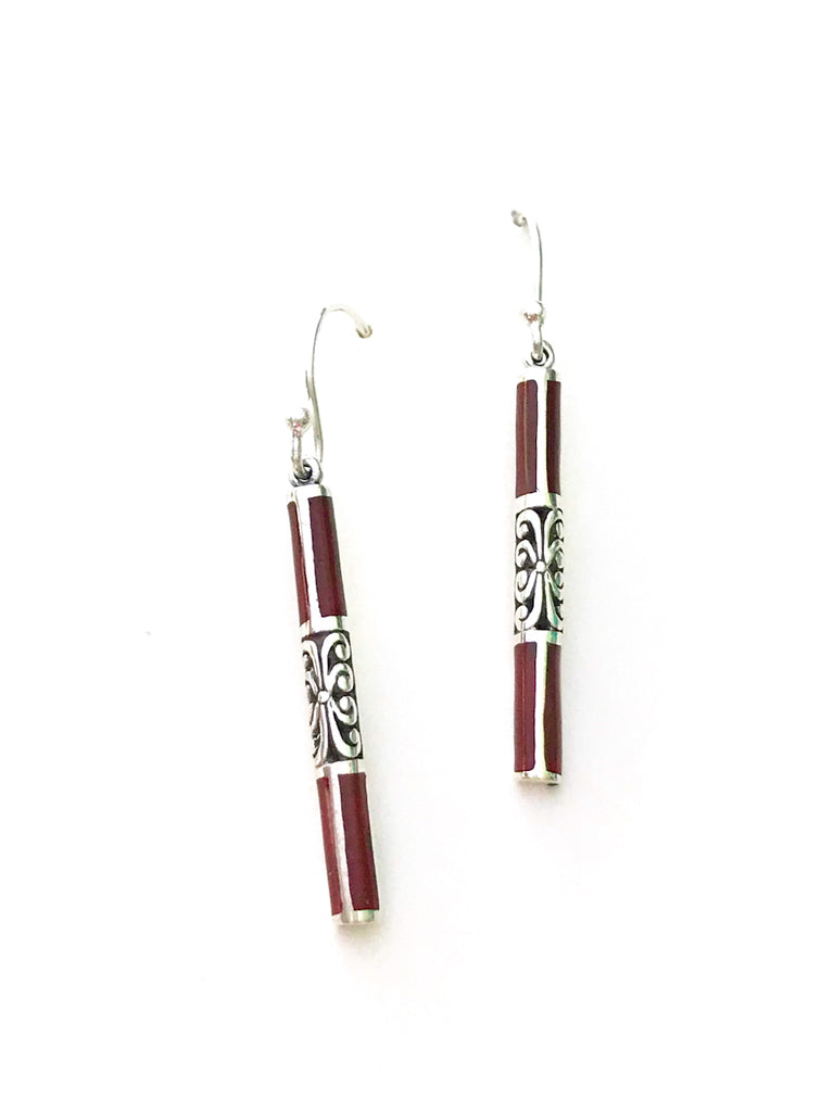 Inlaid Bar Dangles | Sterling Silver Earrings Bali Stone | Light Years