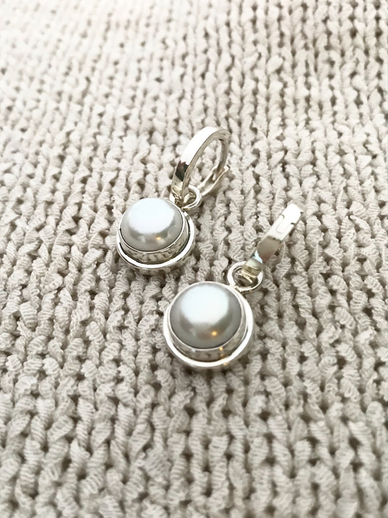 Gemstone Huggie Hoops | Sterling Silver Pearl Earrings | Light Years
