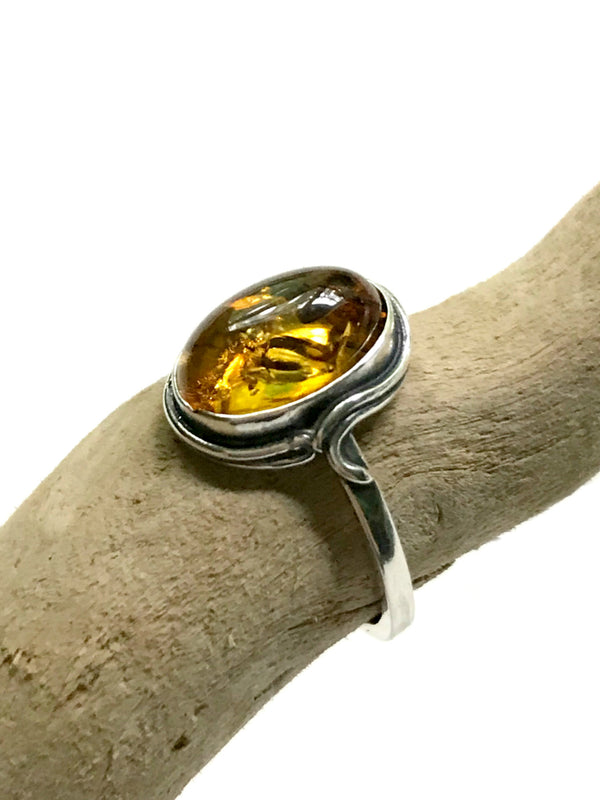Classic Baltic Amber Ring | Sterling Silver Sizes 6 7 8 9 | Light Years