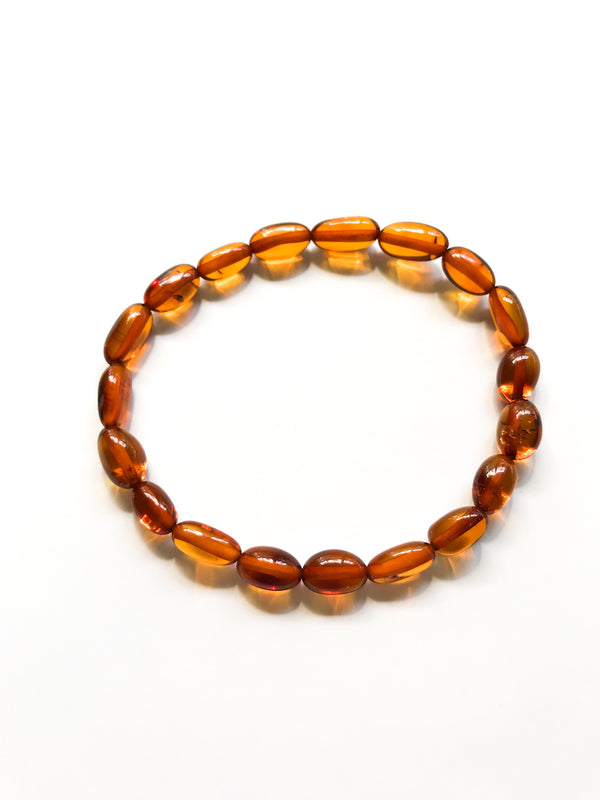 Beaded Amber Stretch Bracelets | Baltic Poland Stacking | Light Years