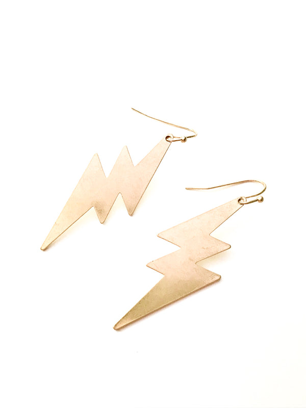 Lightning Bolt Statement Earrings | Silver Gold Dangles | Light Years