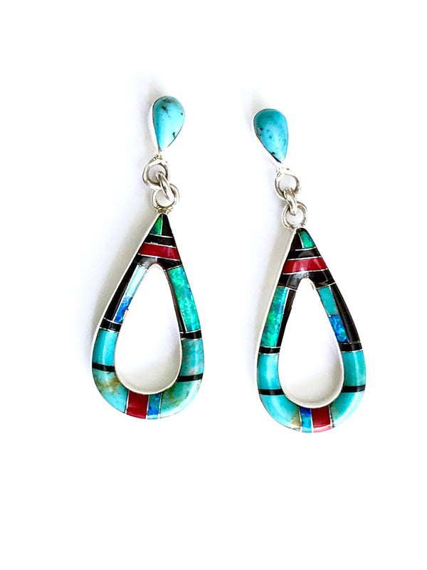 Turquoise & Opal Inlay Earrings | Sterling Silver Posts | Light Years