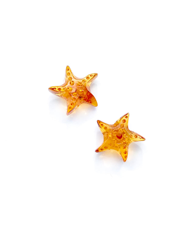 Baltic Amber Starfish Posts | Sterling Silver Stud Earrings | Light Years