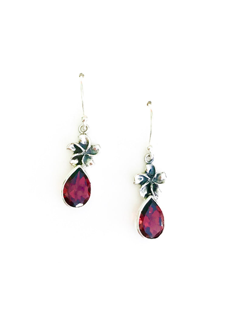 Flower & Gemstone Dangles | Garnet Sterling Silver Earrings Bali | Light Years