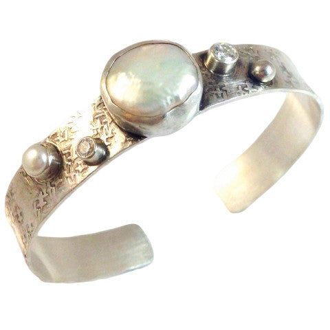 Cubic Zirconia and Pearl Cuff, $122 | Sterling Silver | Light Years Jewelry