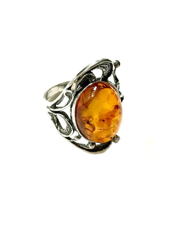 Baltic Amber Filigree Ring | Sterling Silver Size 6 7 8 9 | Light Years