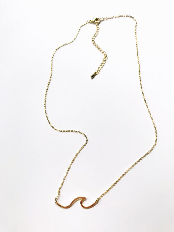 Gold Wave Necklace | Gold Plated Pendant Chain | Light Years Jewelry