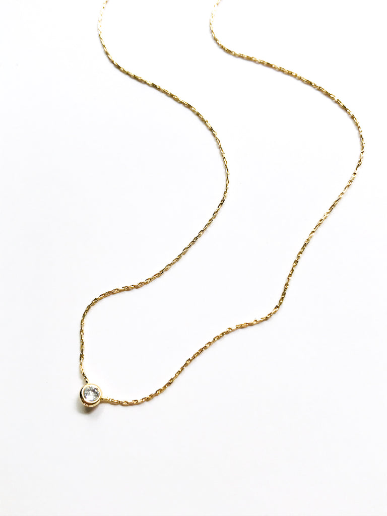 Bezel Set CZ Necklace | Gold Plated Chain Pendant Choker | Light Years