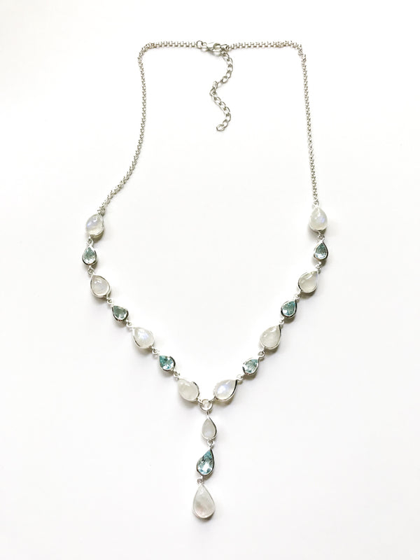 Moonstone & Blue Topaz Necklace | Sterling Silver Gemstones | Light Years