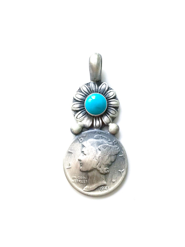 Handmade Mercury Dime Pendant | Sterling Silver Turquoise | Light Years