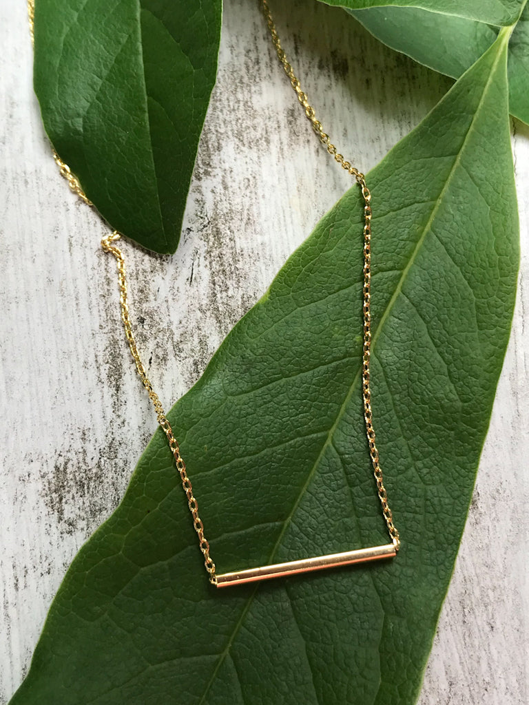 Sliding Bar Choker Necklace | Gold Plated Chain Pendant | Light Years