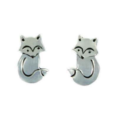 Sterling Silver Sitting Fox Posts, $16 | Light Years Jewelry