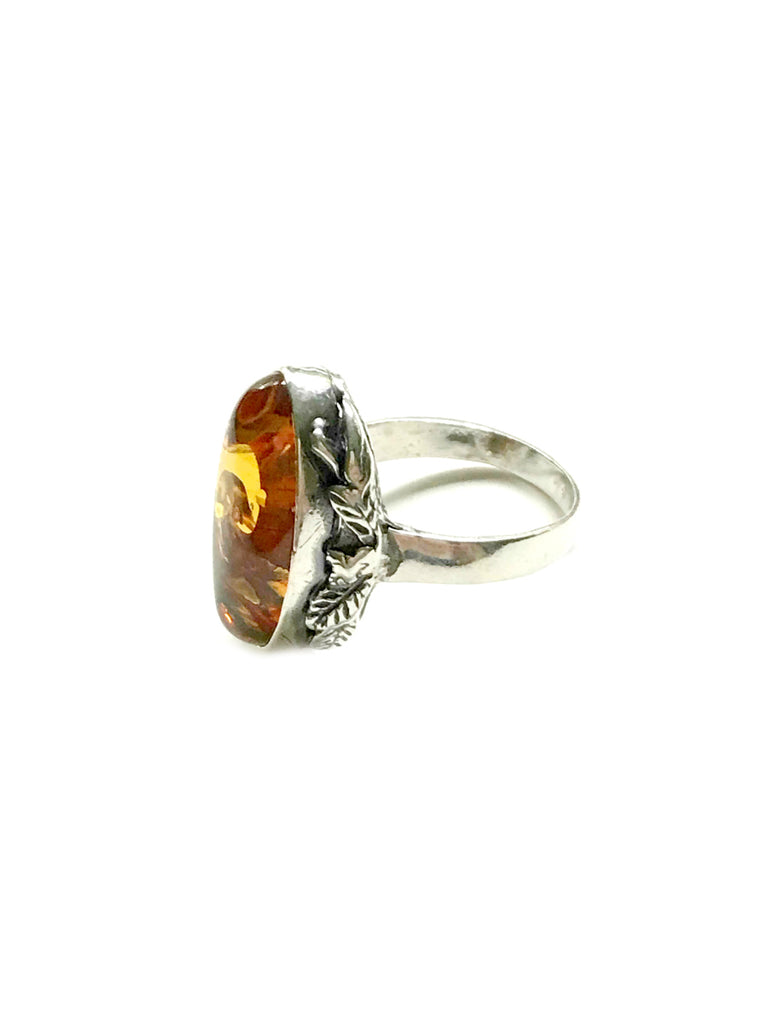 Leafy Amber Ring | Sterling Silver Size 7 7.5 8 8.5 9 | Light Years