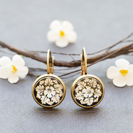 Beijo Brasil B&W Floral Glass Dome Dangles, $14 | Brass Earrings | Light Years Jewelry