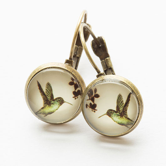 Beijo Brasil Hummingbird Glass Dome Dangles, $14 | Brass Earrings | Light Years Jewelry