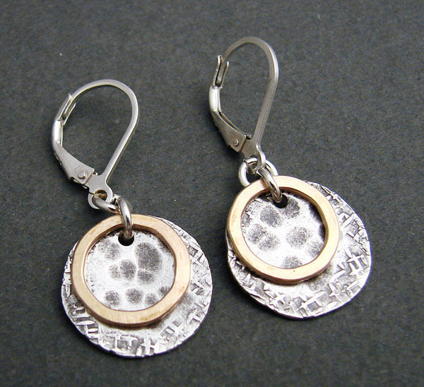 Silver and Gold Hammered Circle Earrings, $62 | Light Years Jewelry