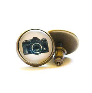 Beijo Brasil Camera Posts, $14 | Brass Stud Earrings | Light Years