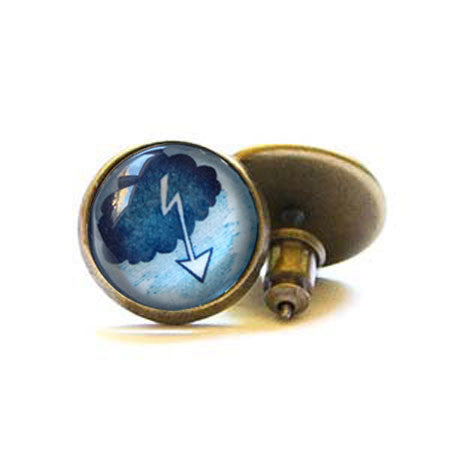 Beijo Brasil Lightning Bolt Posts, $14 | Brass Stud Earrings | Light Years Jewelry
