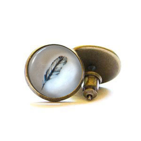 Beijo Brasil Feather Posts, $14 | Brass Stud Earrings | Light Years