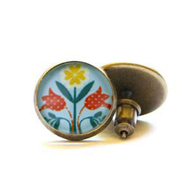 Beijo Brasil Swiss Miss Glass Dome Posts, $14 | Brass Stud Earrings