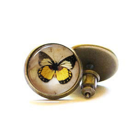 Beijo Brasil Butterfly Posts, $14 | Brass Stud Earrings | Light Years Jewelry