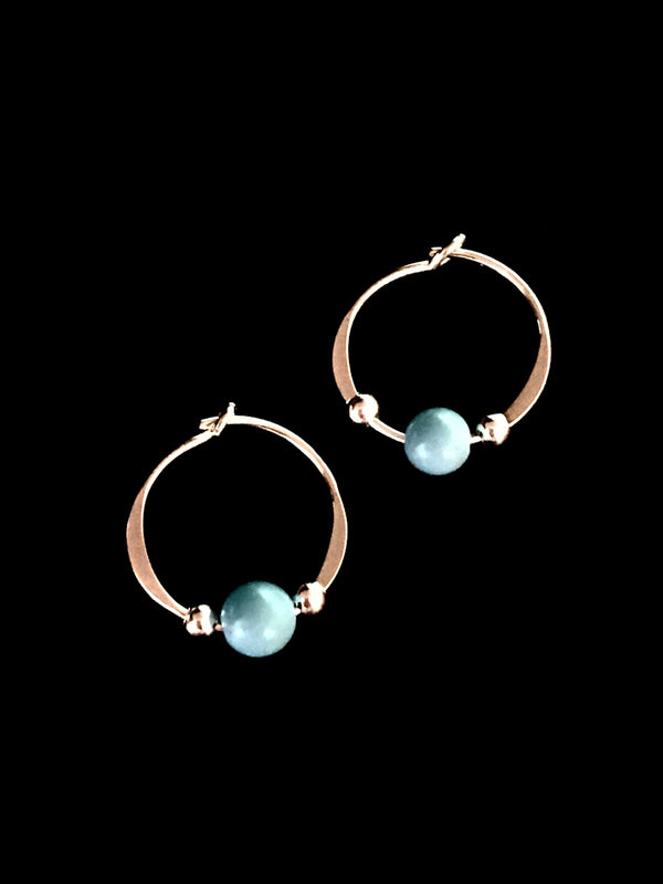 Turquoise Beaded Hoops | Sterling Silver Earrings | Light Years Jewelry