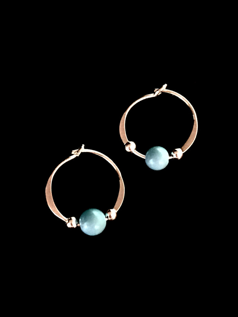 Turquoise Bead Hoops | Sterling Silver Gold Filled Earrings | Light Years