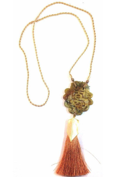 Hand Carved Jade Tassel Necklace, $32 | Light Years Jewelry