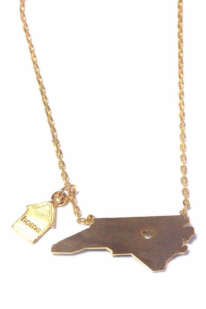 North Carolina Is Home Necklace, $28 | Gold Plated | Light Years Jewelry