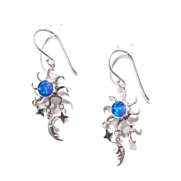 Blue Opal Sun and Moon Earrings
