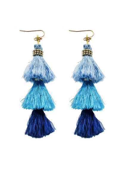 Shades of Blue Tassel Earrings