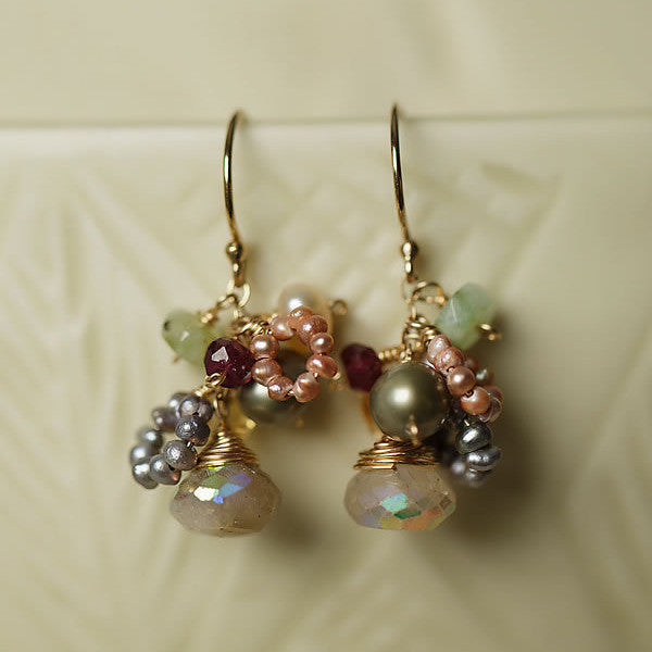 Gumdrop Gemstone Quartz Cluster Earrings, $52 | Light Years Jewelry