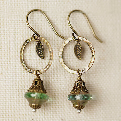 Czech Glass with Leaf Earrings, $21 | Light Years Jewelry