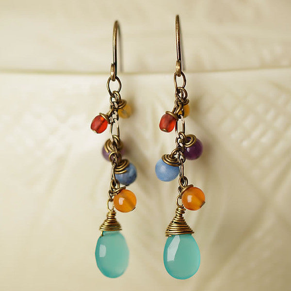 Mardi Gras Cluster Gemstone Earrings, $30 | Light Years Jewelry