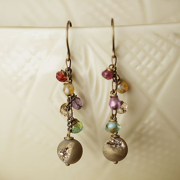 Pyrite & Gemstone Cluster Earrings, $32 | Made in the USA | Light Years