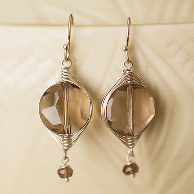 Smokey Quartz Herringbone Earrings, $28 | Sterling Silver | Light Years