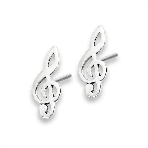 Treble Clef Posts, $9 | Sterling Silver Stud Earrings | Light Years Jewelry