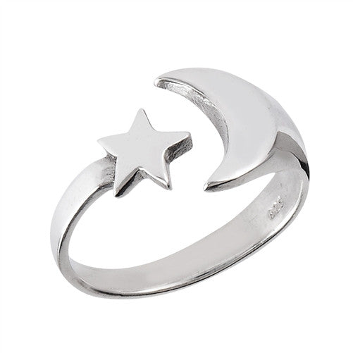 Moon & Star Ring | Sterling Silver Sizes 5 6 7 8 9 10 | Light Years