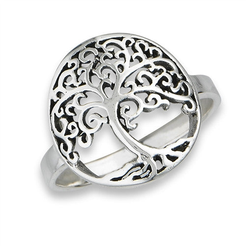 Swirly Tree of Life Ring | Sterling Silver Size 6 7 8 9 | Light Years
