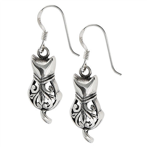 Cat Earrings, $18 | Sterling Silver Filigree Drops | Light Years Jewelry