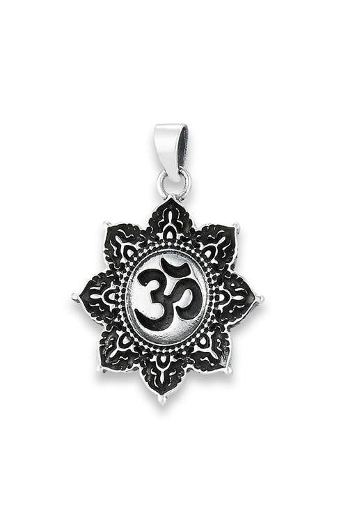 Tibetan Om in Lotus Pendant, $18 | Sterling Silver | Light Years Jewelry