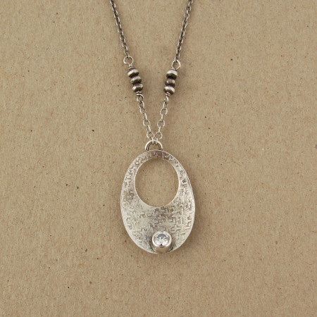 J+I Hollow Crest with CZ Necklace, $82 | Sterling Silver | Light Years Jewelry