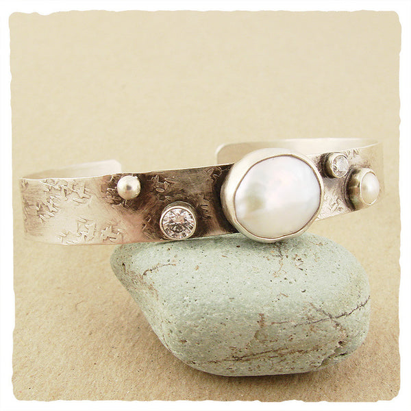 Cubic Zirconia and Pearl Cuff, $122 | Sterling Silver | Light Years