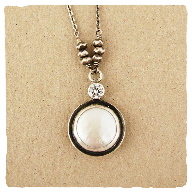 Bezel Set White Coin Pearl Necklace, $88 | Sterling Silver | Light Years Jewelry