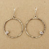 Hammered Large Circle CZ Earrings | Sterling Silver | Light Years
