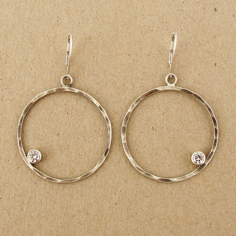 Hammered Large Sterling Circle with Offset White CZ Earrings, $72