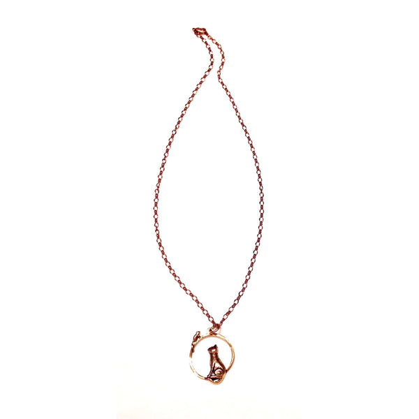 Copper Cat And Mouse Necklace, $19 | Pendant and Chain | Light Years Jewelry