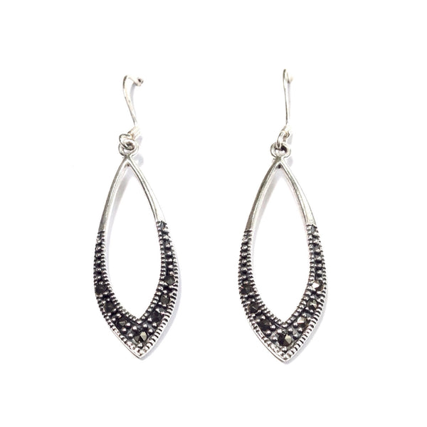 Marquis Marcasite Dangle Earrings, $20 | Sterling Silver | Light Years Jewelry